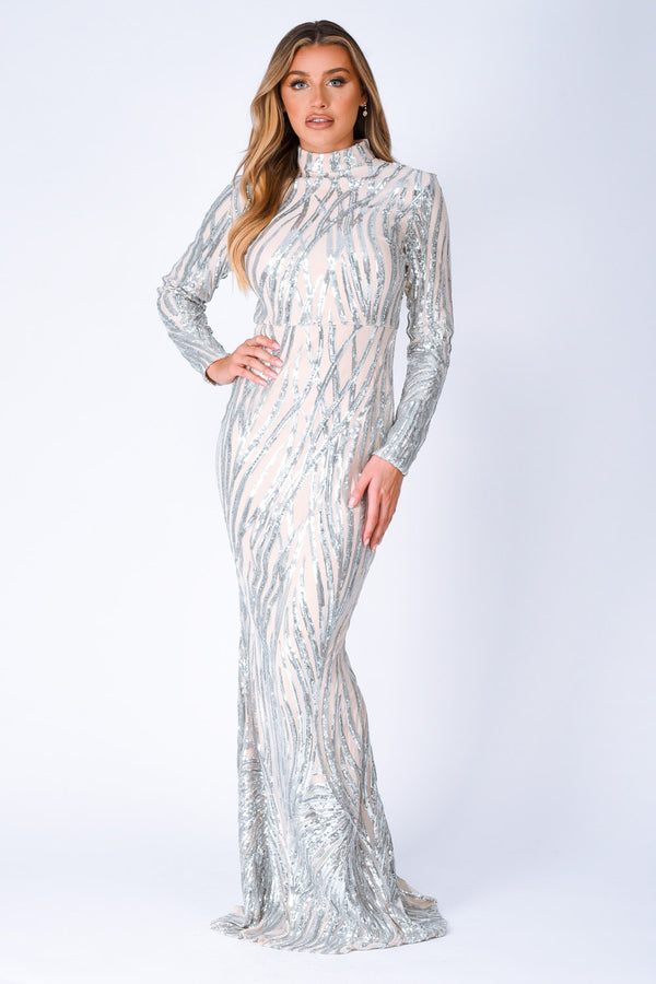 Trinity Luxe Silver Sequin Tree Effect Illusion Maxi Dress