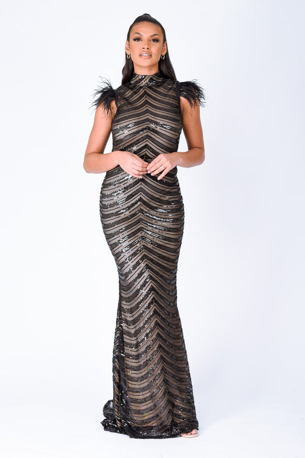Power Vip Black Luxe Feather Shoulder Sequin Illusion Maxi Dress