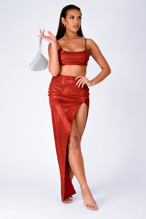 Cuba Red Metallic Glitter Crop Top Thigh Slit Skirt Two Piece Co ord Set
