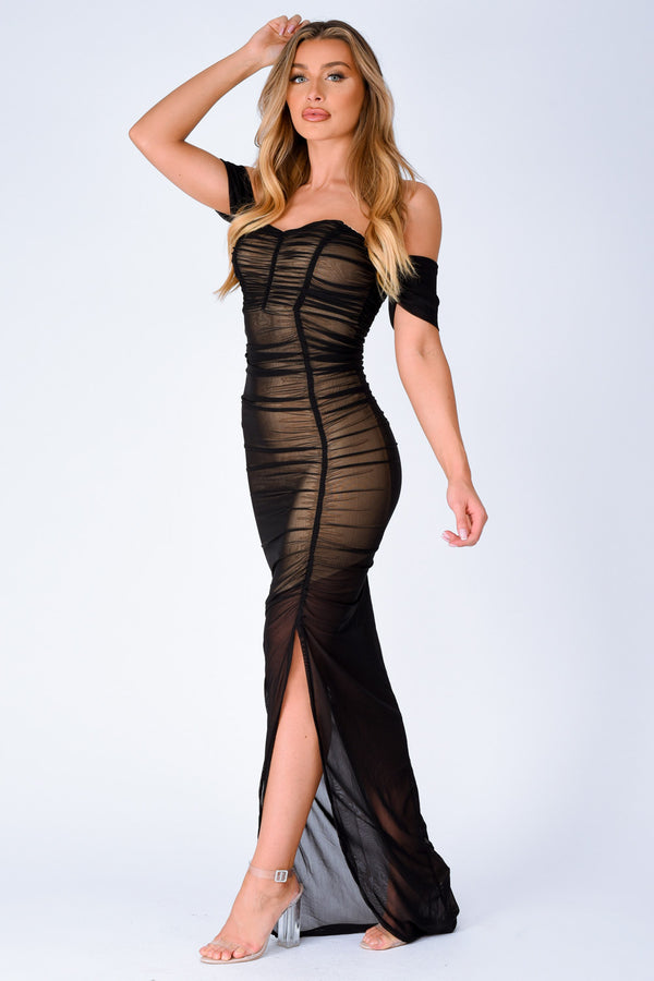 Sheer I Come Mesh Net Chiffon Bardot Off The Shoulder Maxi Dress