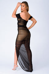 Sheer I Come Black Mesh Net Chiffon Bardot Off The Shoulder Maxi Dress