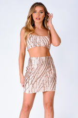 Moonlight Rose Gold Tree Effect Sparkle Sequin Two Piece Co-ord Set