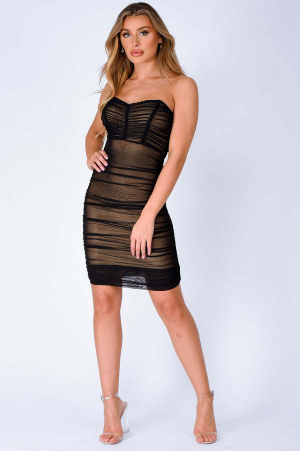 Misbehaved Black Ruched Mesh Bandeau Strapless Dress