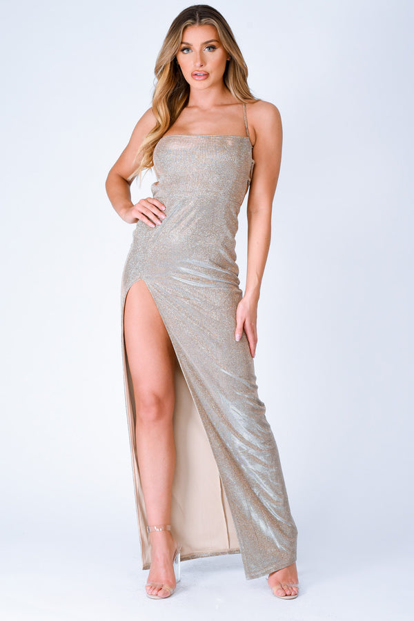 glitter metallic maxi slit rose gold sparkle dress