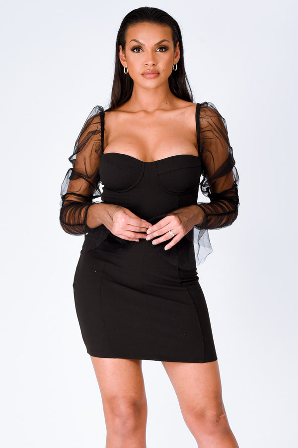Milani Black Sheer Mesh Net Long Sleeve Bustier Bodycon Mini Dress