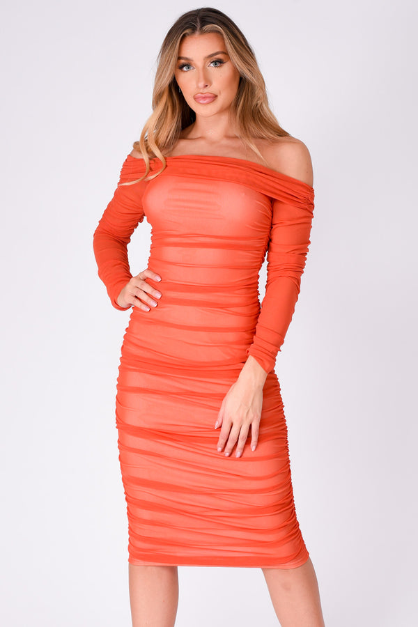 Felicity Orange Bardot Off The Shoulder Mesh Net Midi Bodycon Dress
