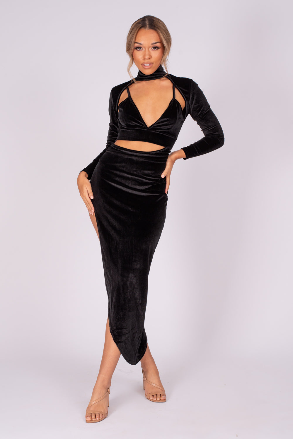 Alter Ego Black Velvet Asymmetric Cut Out Bralette Long Sleeve Dress