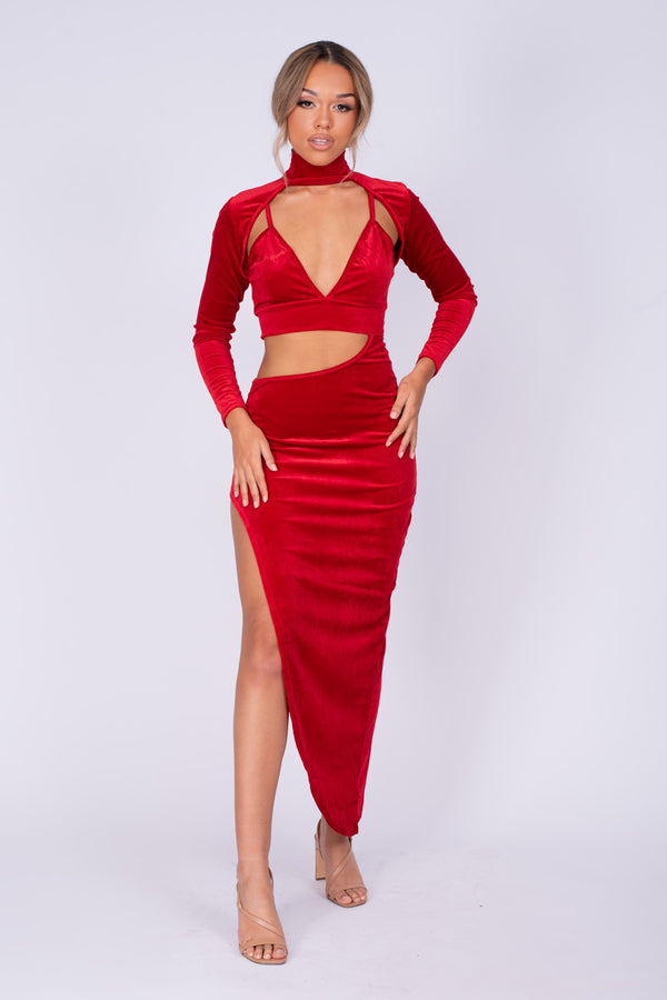 Alter Ego Red Velvet Asymmetric Cut Out Bralette Long Sleeve Dress