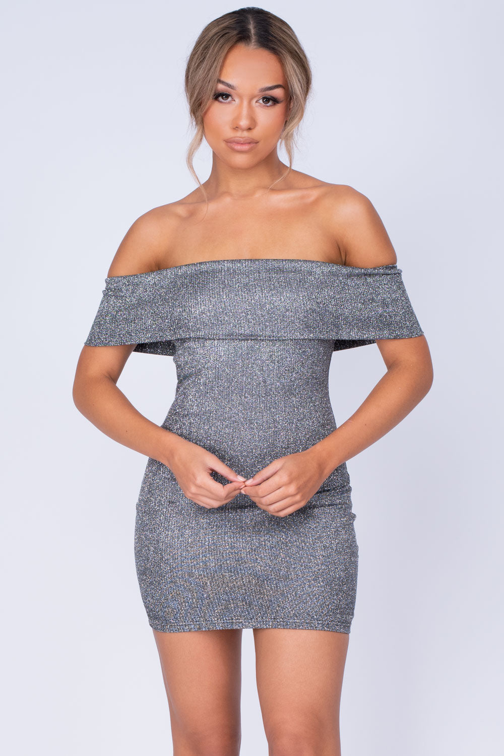 Chelsea Black Silver Metallic Sparkle Glitter Bardot Cuff Bodycon Dress