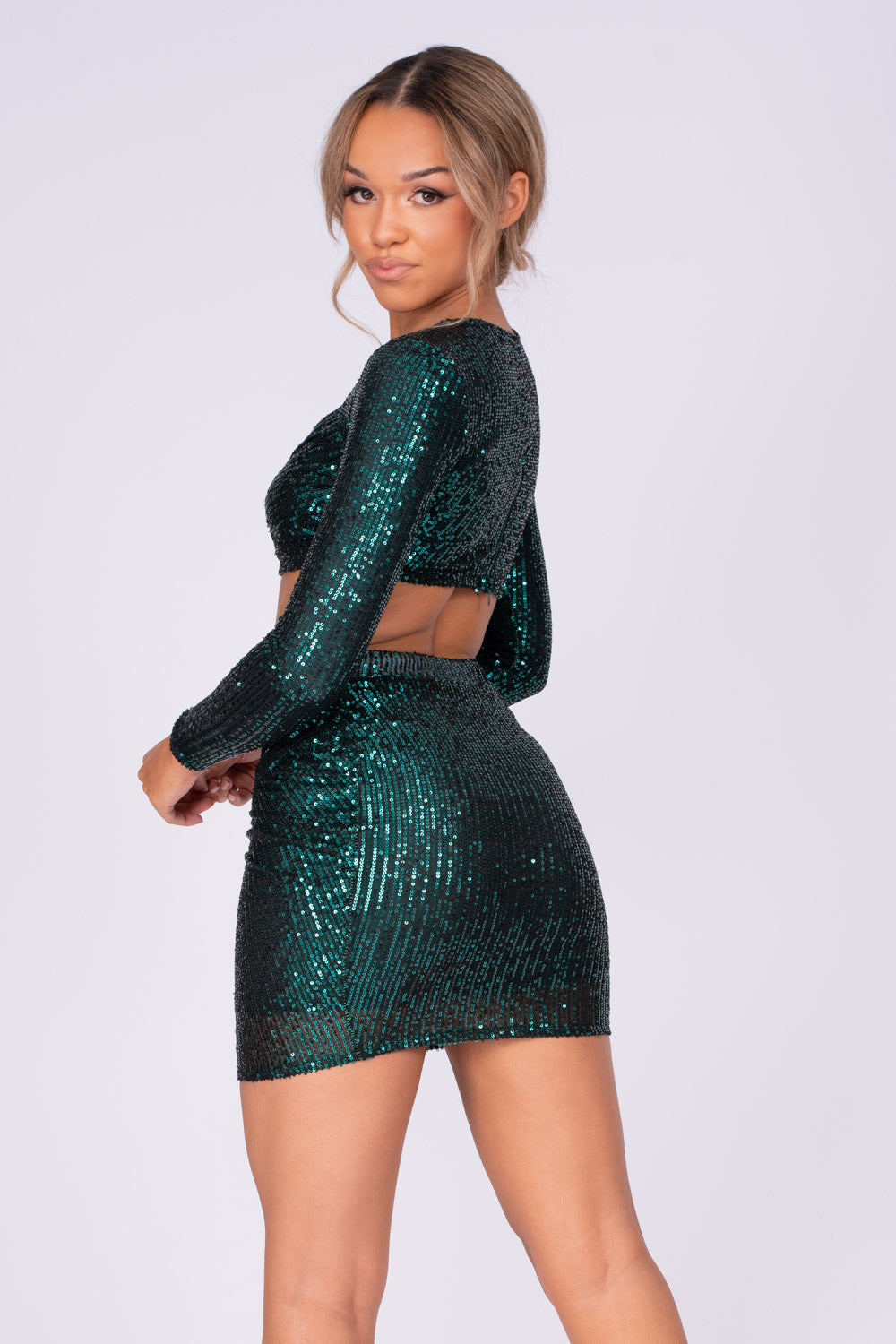 Flaunt It Emerald Green Sequin Ruched Wrap Two Piece Co-ord Set