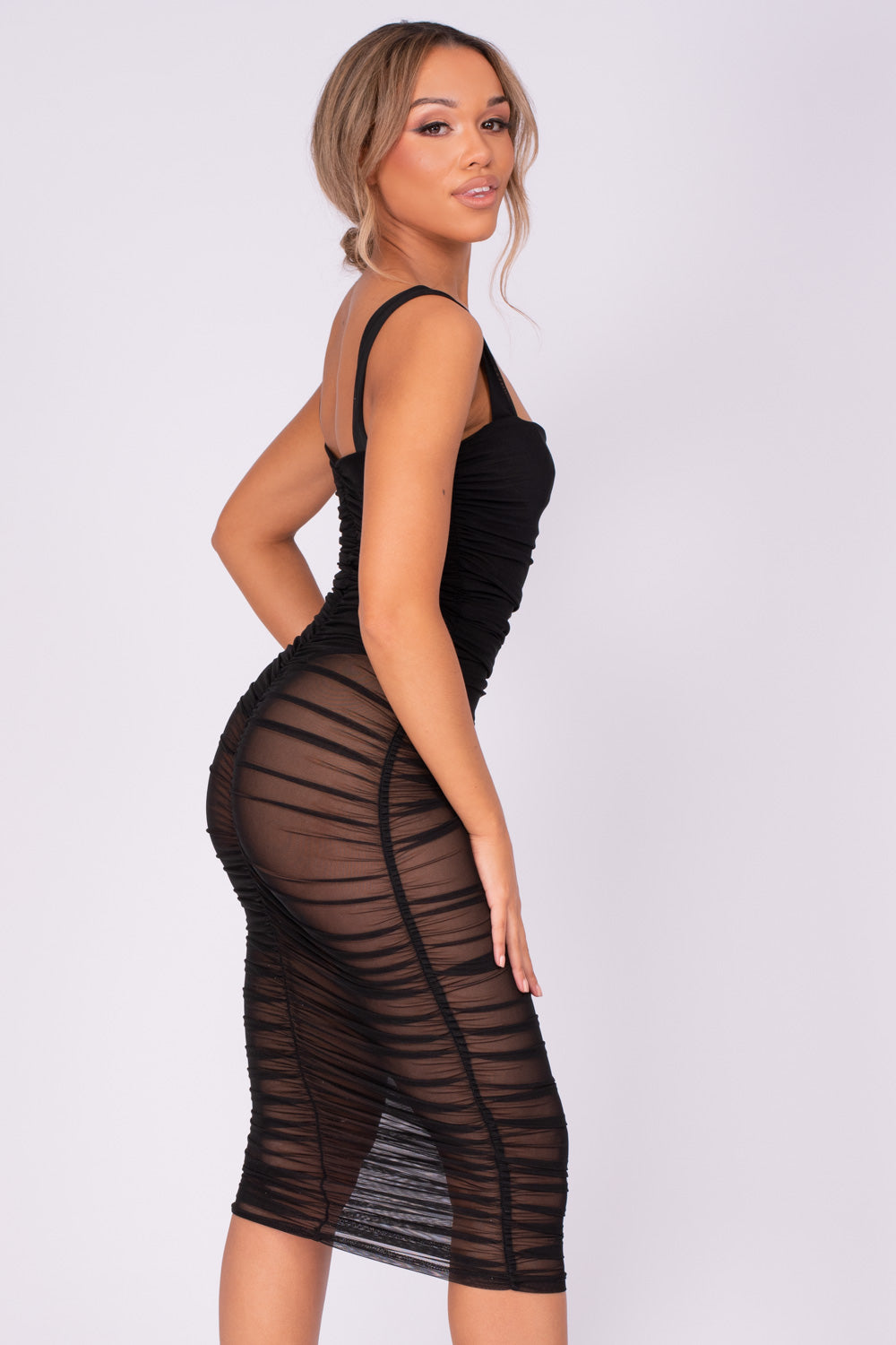 Barely There Black Sheer Mesh Net Bodysuit Midi Dress