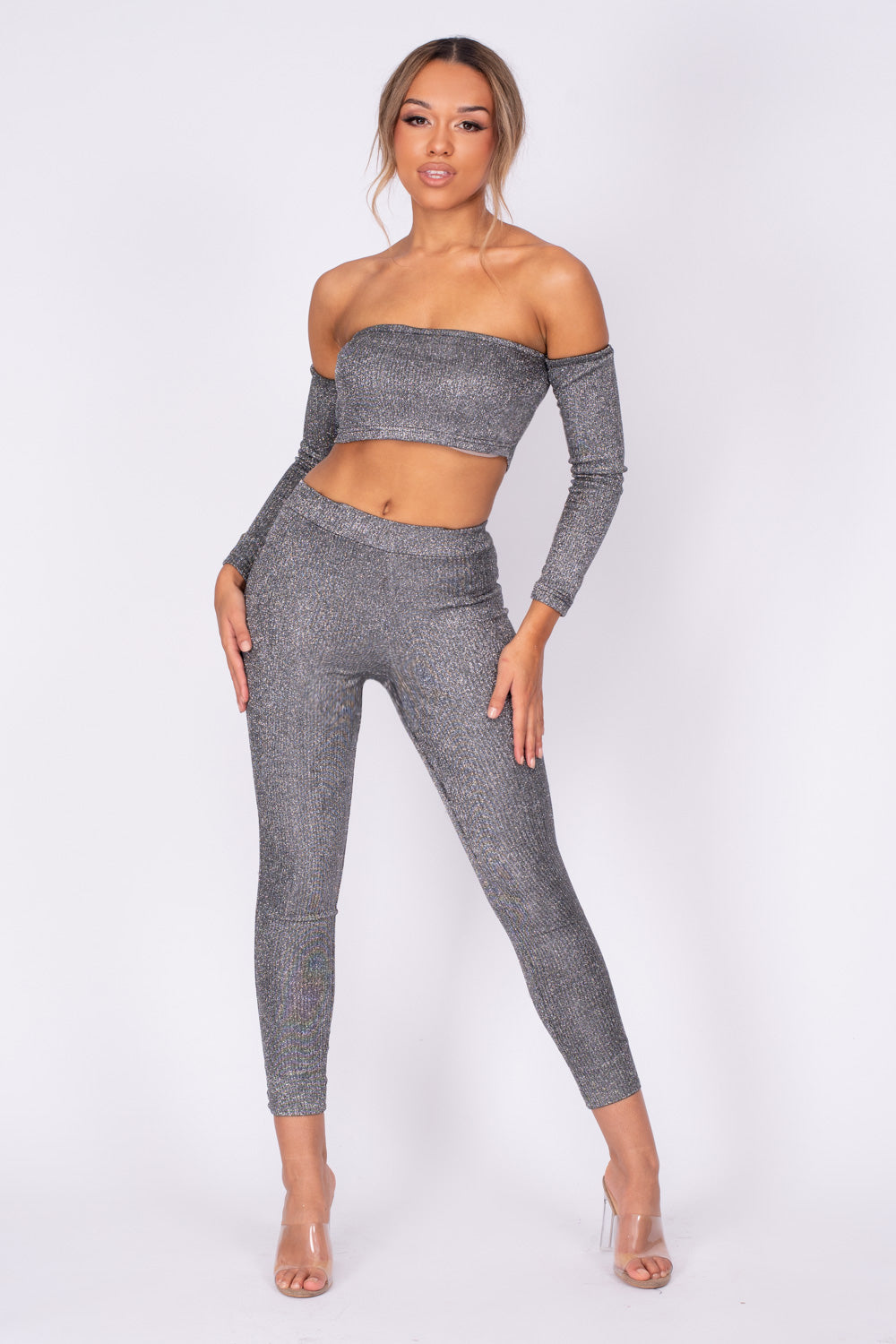 Havana Black Silver Metallic Glitter Two Piece Leggings Co-ord Set