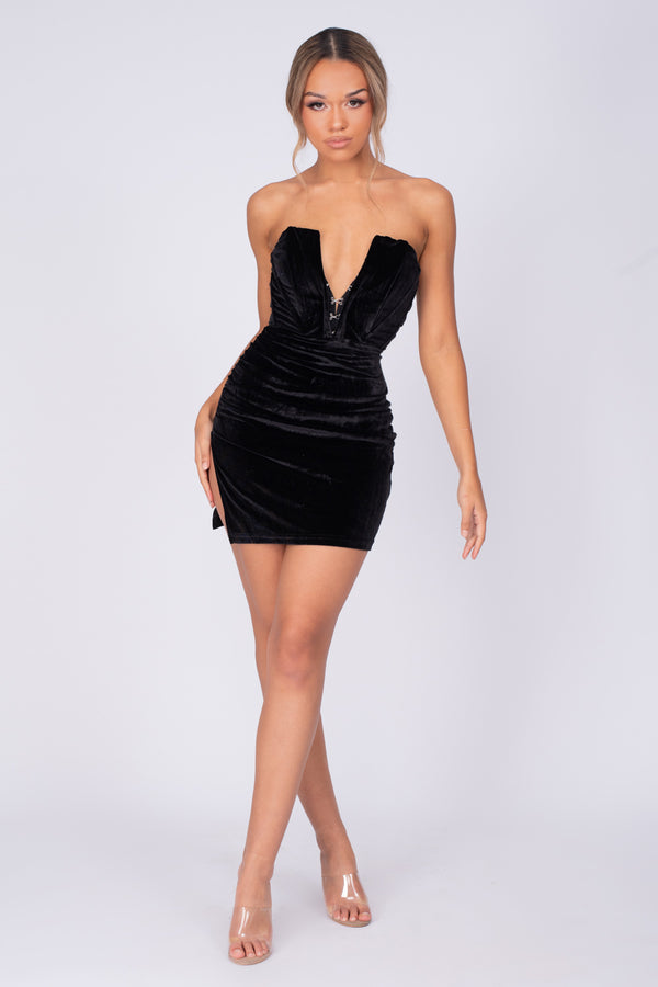Crushin Hearts Black Corset Hook & Eye Plunge Velvet Dress