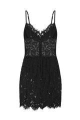 Sheer Me Up Lace Black Bodycon Mini Slit Dress