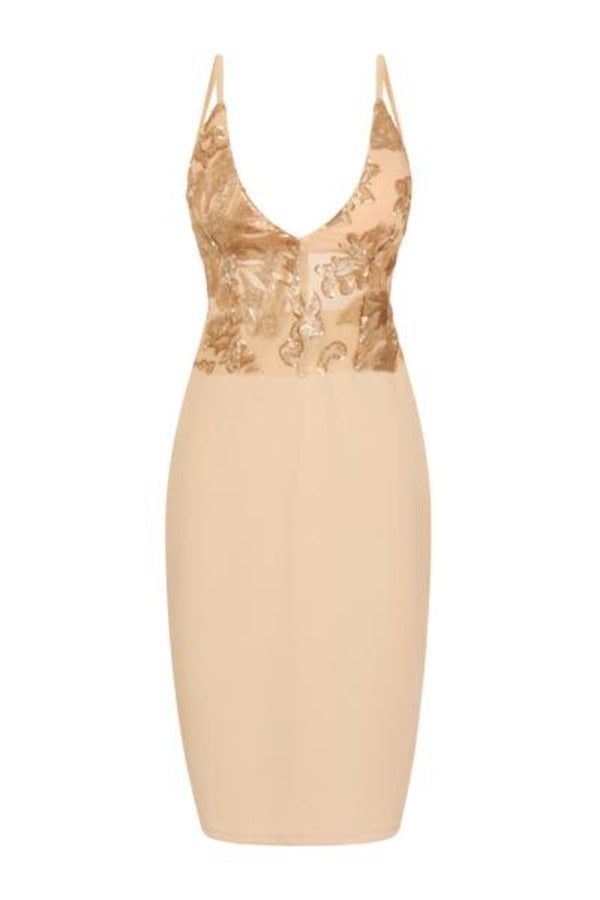 nude midi ruched dress