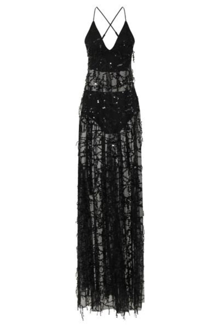 Keysha Black Sheer Sequin Tassel Fringe Double Slit Dress