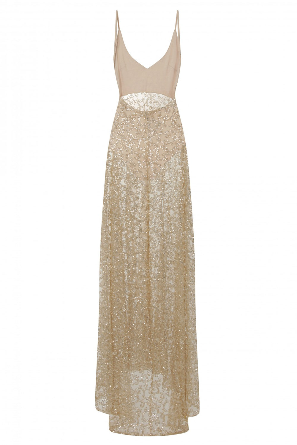 Kimya Gold Sheer Goddess Sparkle Double Slit Dress