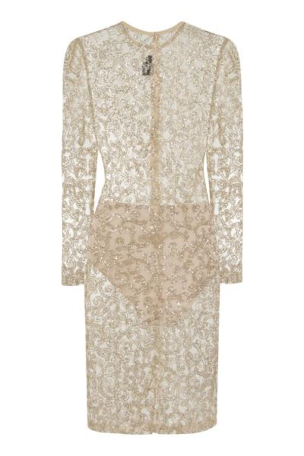 Elsa Gold Sheer Sparkle Glitter Dress