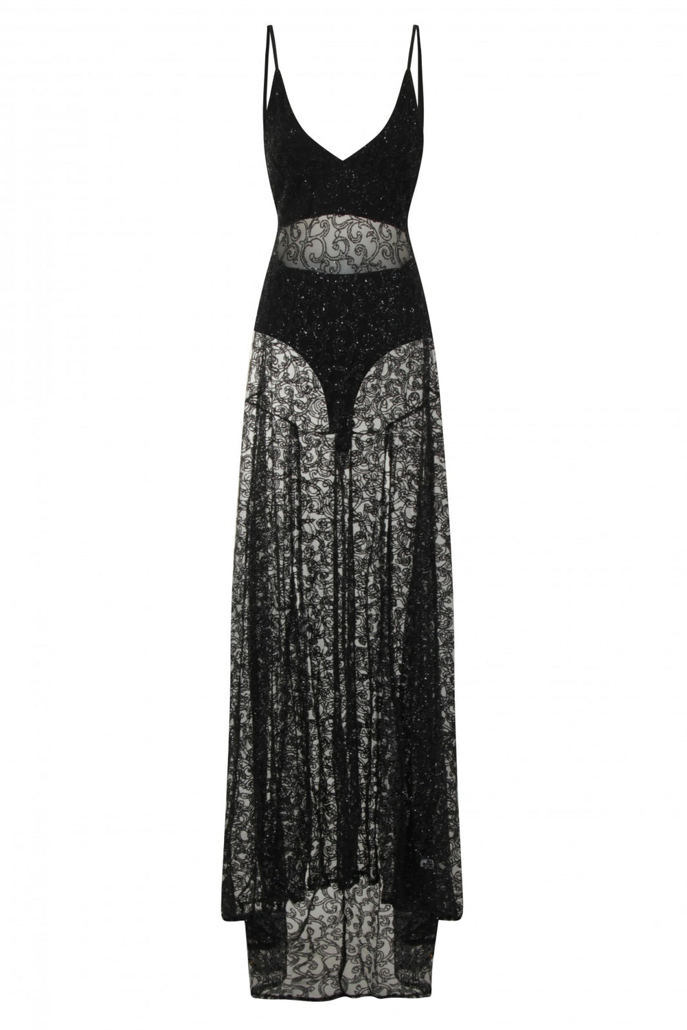 Kimya Black Sheer Goddess Sparkle Double Slit Dress