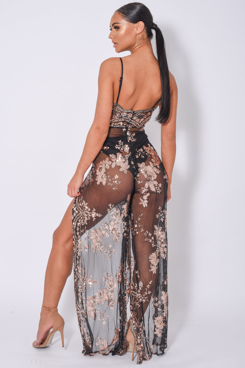 Game Changer Black Rose Gold Sheer Floral Sequin Palazzo Split Jumpsuit