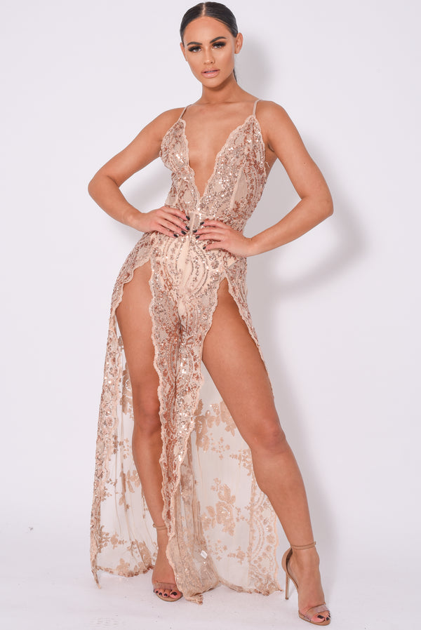 Game Changer Rose Gold Nude Sheer Floral Sequin Palazzo Split Jumpsuit