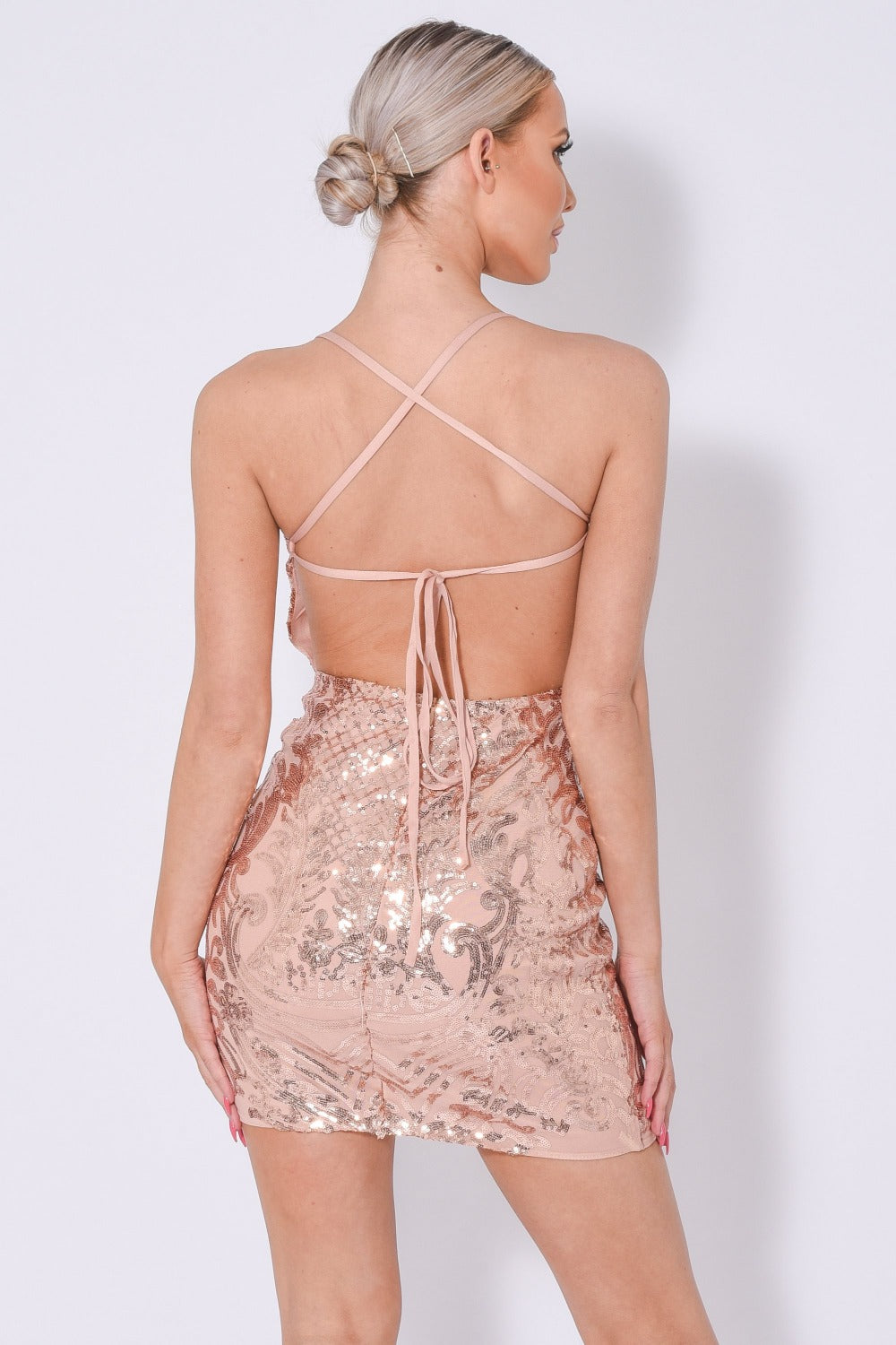 Icey Vip Rose Gold Nude Plunge Floral Sequin Illusion Mini Dress