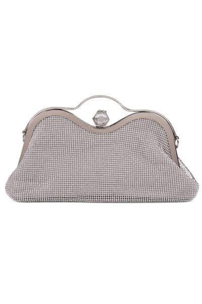 La Silver Crystal Diamante Soft Purse Clutch Bag