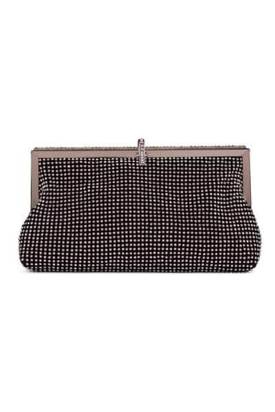 Roma Black Crystal Diamante Soft Purse Clutch Bag