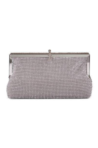 Roma Silver Crystal Diamante Soft Purse Clutch Bag