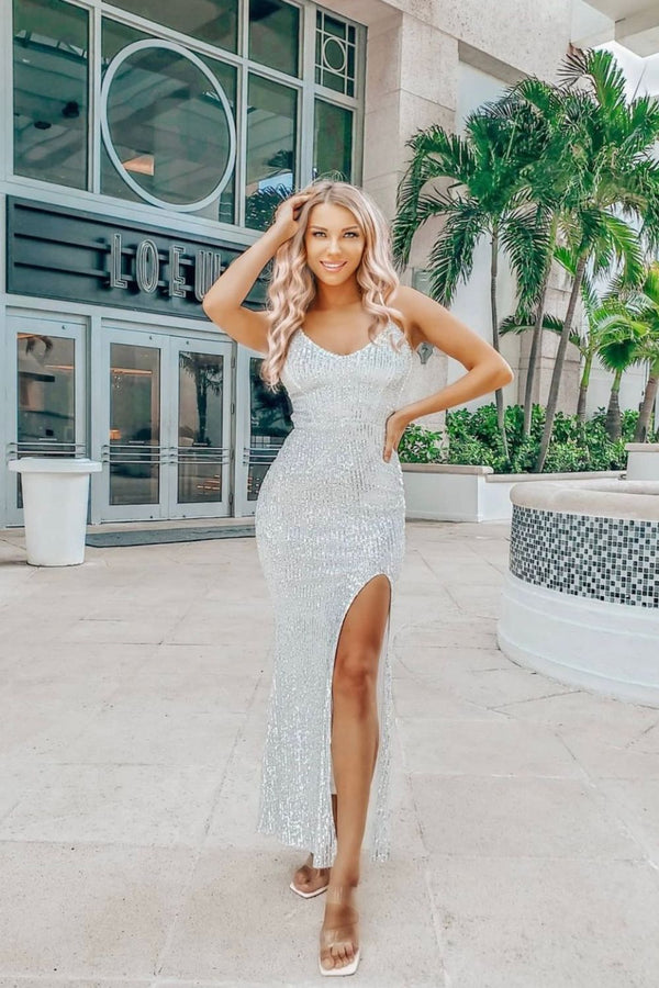 Big Dreams Silver Tie Back Sequin Plunge Slit Maxi Dress