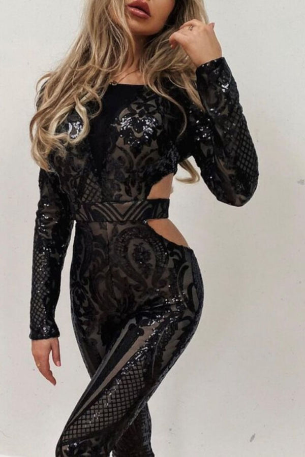 Toxic Black Luxe Plunge Illusion Sequin Mesh Embellished Jumpsuit
