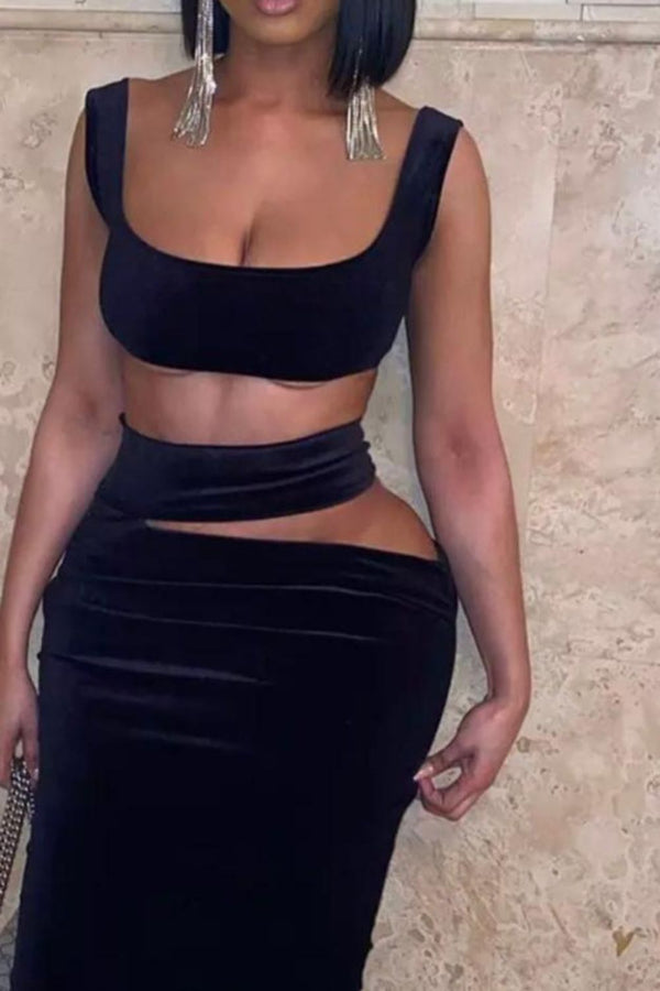 After Dark Black Velvet Cut Out Two Piece Co-ord Set