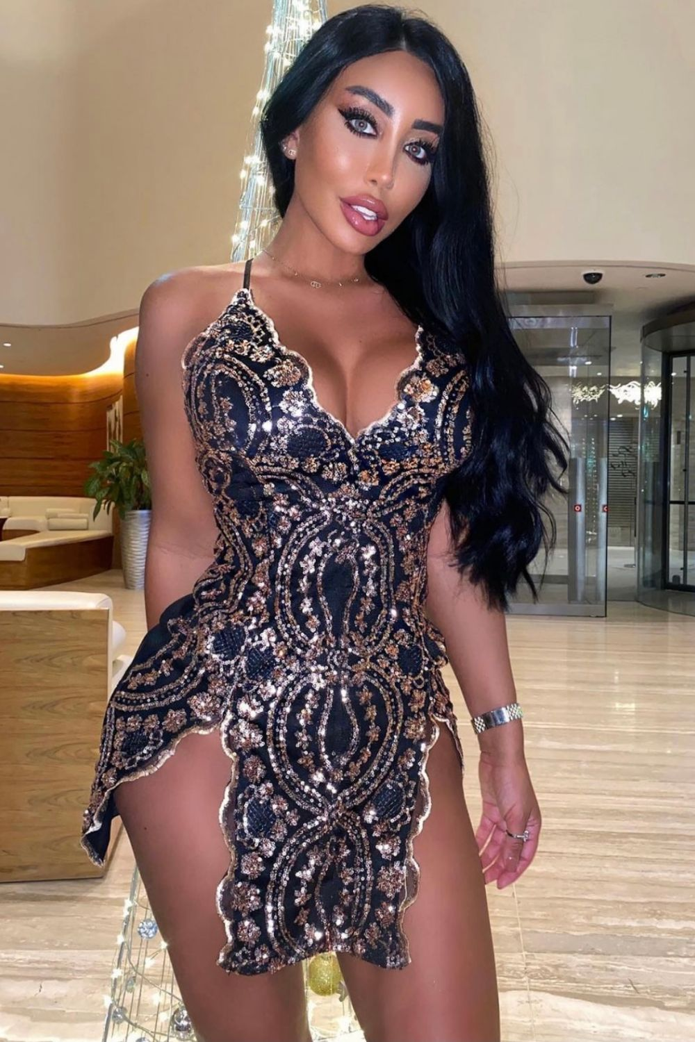 No Limit Black Rose Gold Plunge Floral Sequin Double Thigh Slit Mini Dress