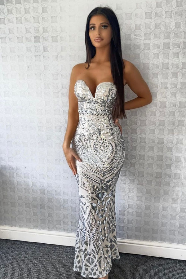 Kenza Silver Luxe Sweetheart Plunge Sequin Embellished Fishtail Dress