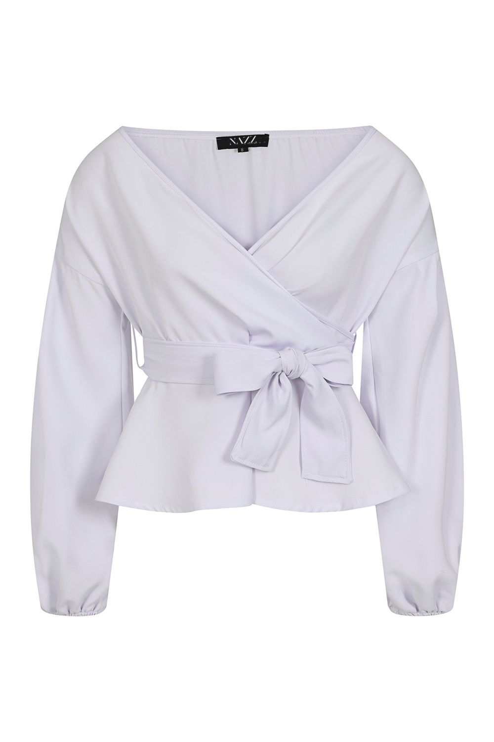 Mili White Longsleeve Wrap Over Tie Top