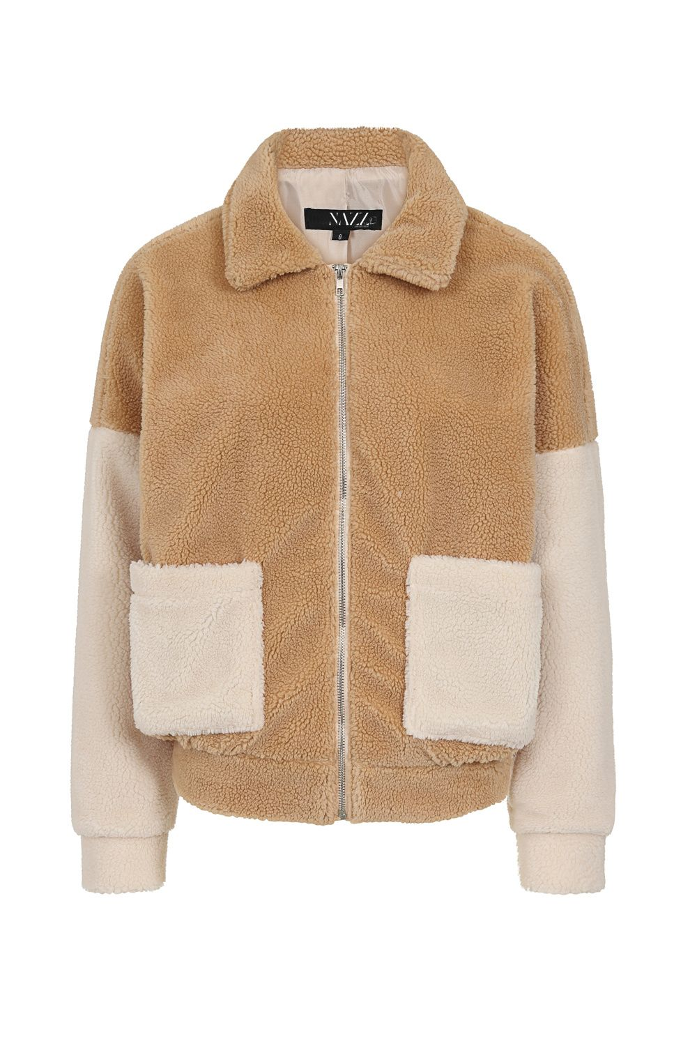 Addison Two Cream and Tan Fur Teddy Bomber Jacket