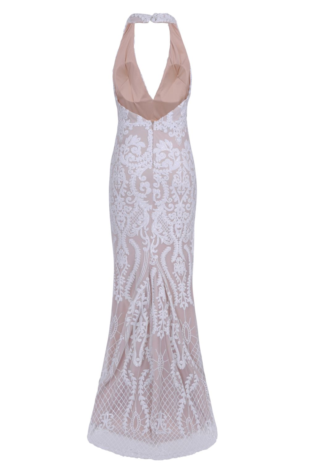 Aaliyah White Nude Halterneck Floral Sequin Embellished Maxi Fishtail Dress