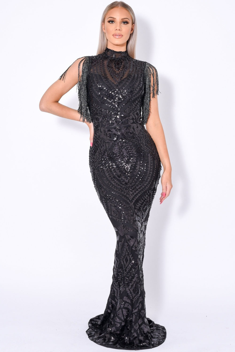 Magic Vip Black Luxe Tassel Fringe Sequin Embellished Illusion Maxi Dress