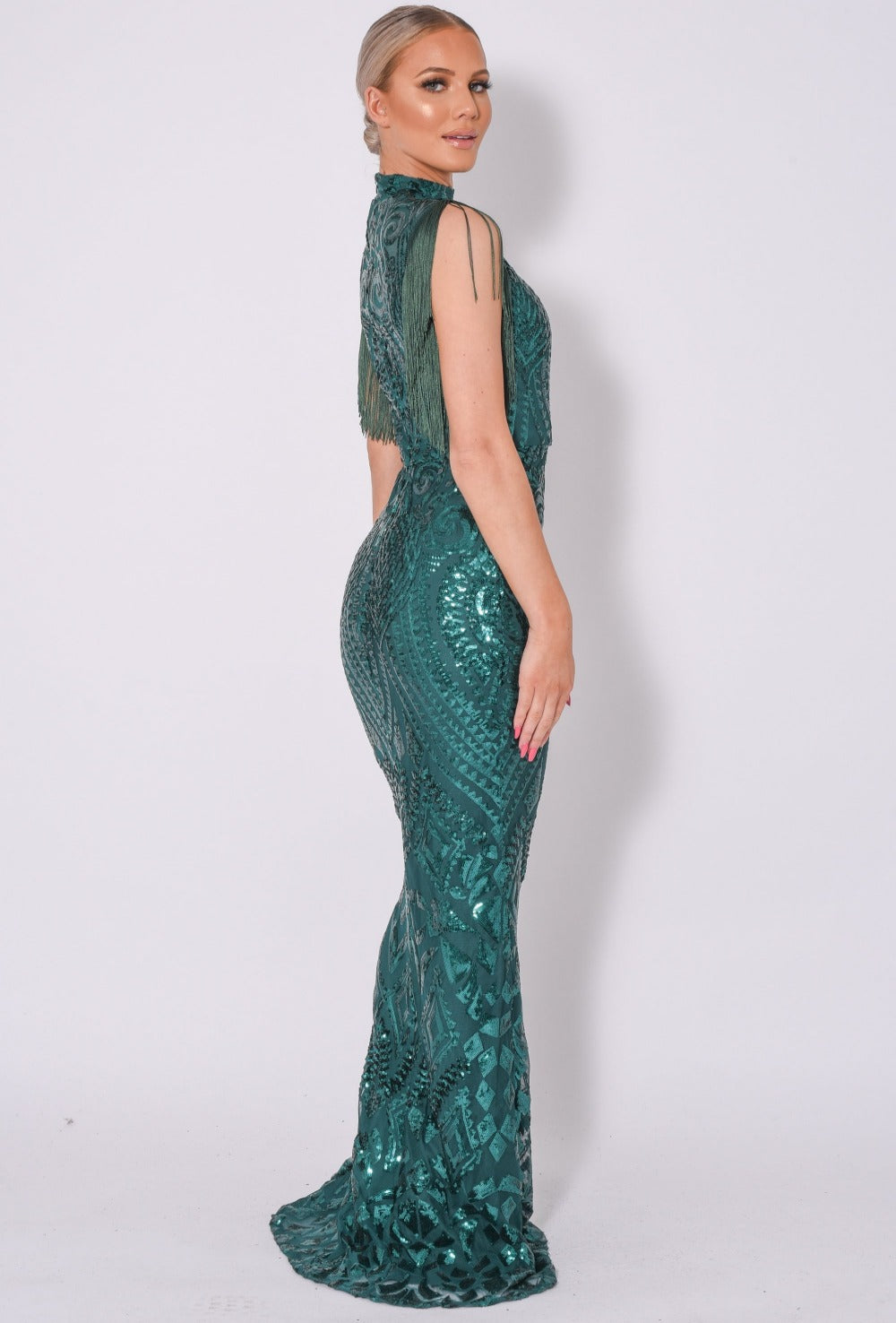 Magic Vip Green Luxe Tassel Fringe Sequin Embellished Illusion Maxi Dress