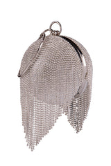 Hollywood Silver Crystal Diamante Tassel Wristlet Sphere Clutch Bag