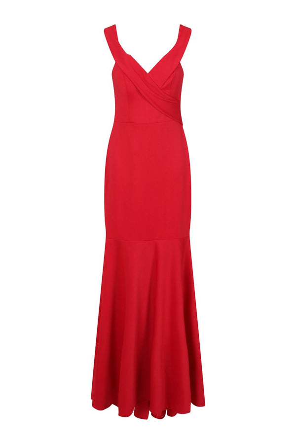 Camila Berry Red Bardot Maxi Fishtail Dress