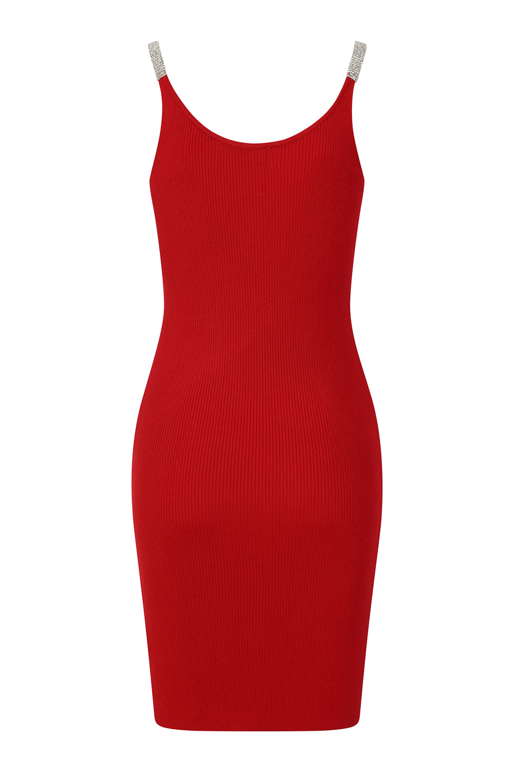 Angelina Red Diamante Strap Ribbed Knitted Pencil Midi Bodycon Dress