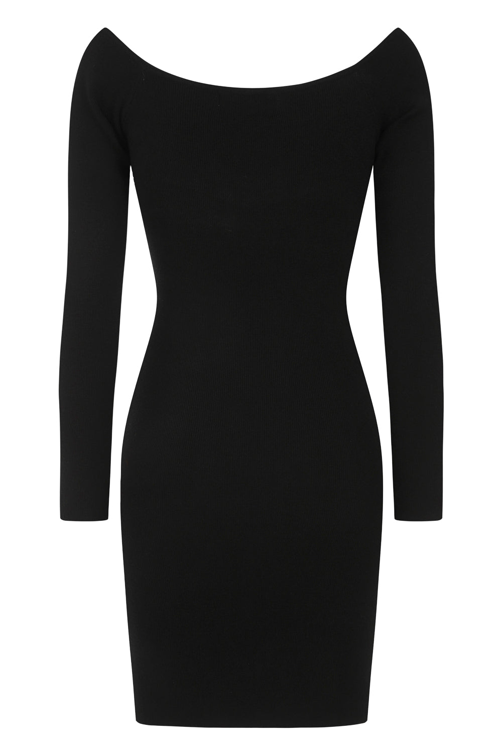 Precious Black Ruffle Ribbed Knitted Bodycon Long Sleeve Dress