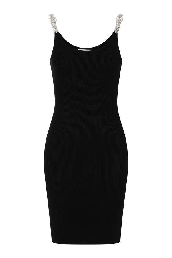 Angelina Black Diamante Strap Ribbed Knitted Pencil Midi Bodycon Dress