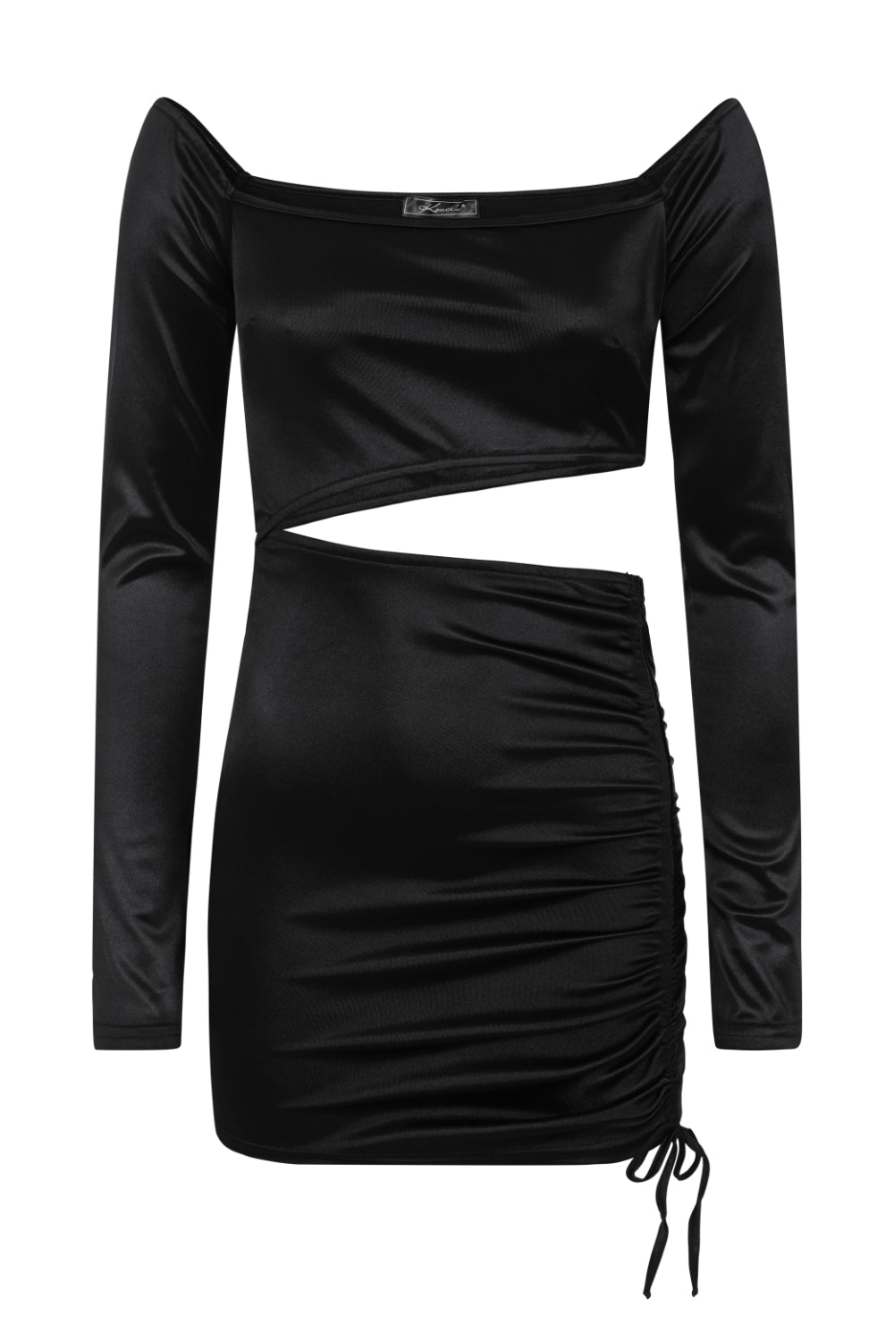 Cut It Out Black Slinky Satin Cut Out Ruched Mini Dress