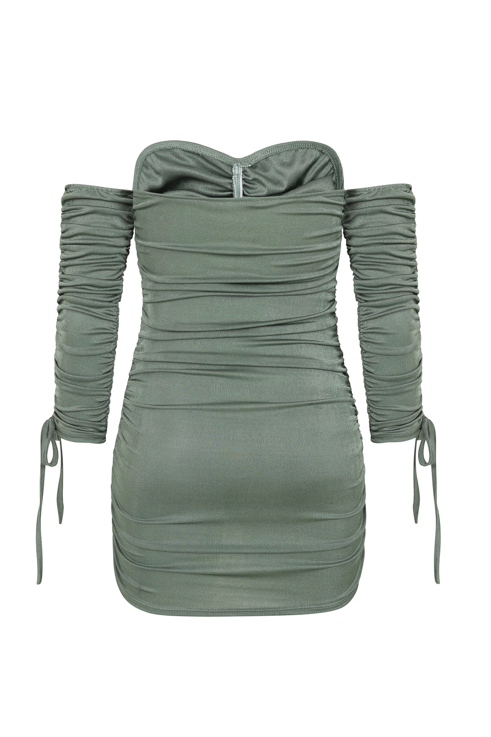 All Ruched Up Khaki Off The Shoulder Long Sleeve Slinky Mini Dress