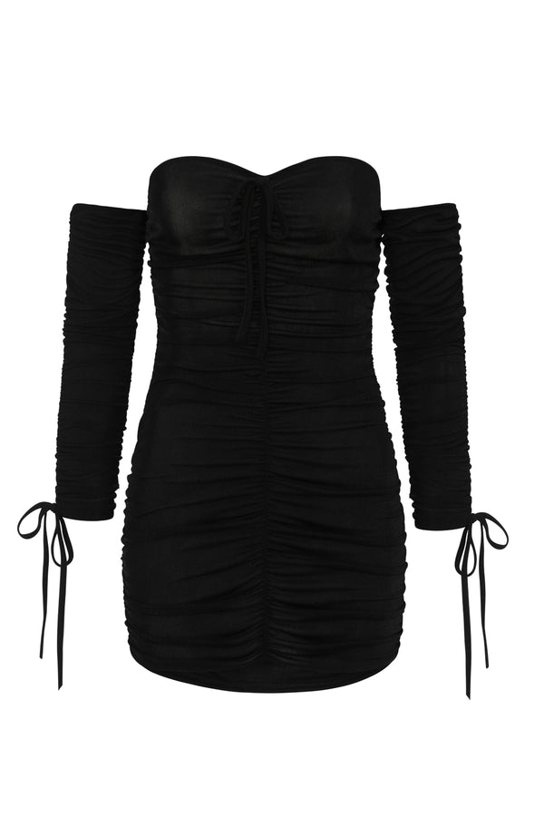 All Ruched Up Black Off The Shoulder Long Sleeve Slinky Mini Dress