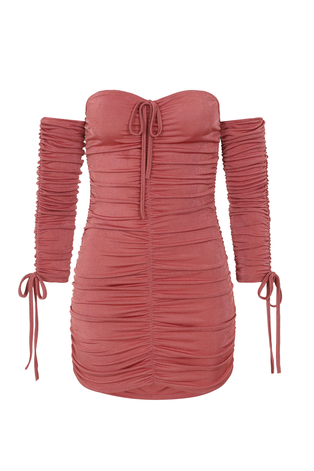 All Ruched Up Dusty Pink Off The Shoulder Long Sleeve Slinky Mini Dress