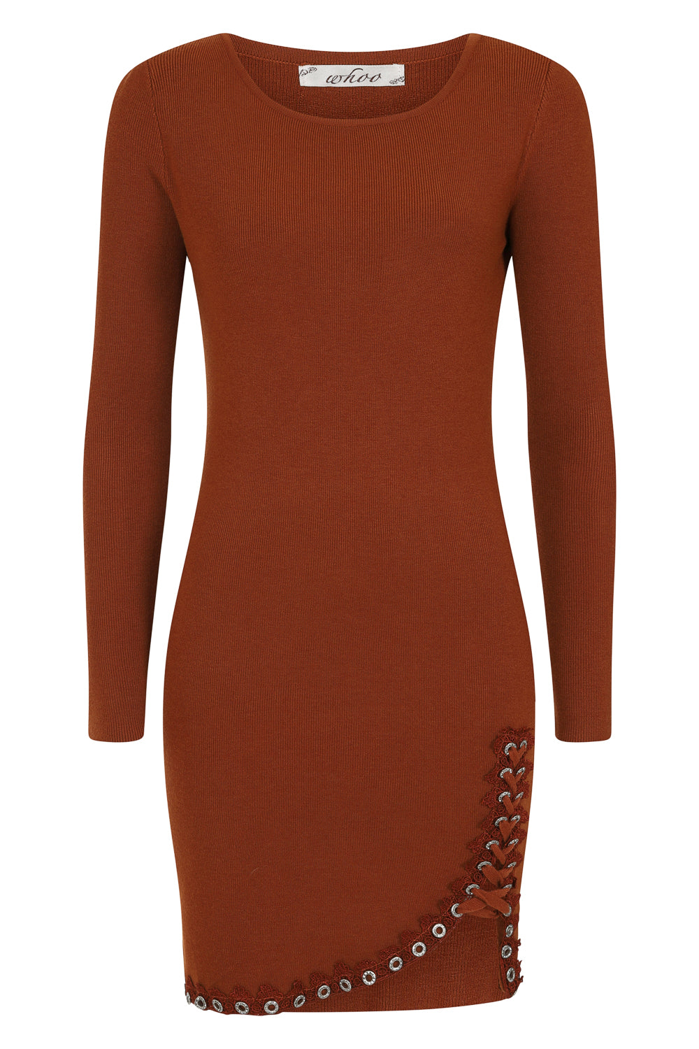 Jasmine Dark Camel Lace Up Diamante Ribbed Knitted Long Sleeve Mini Slit Dress