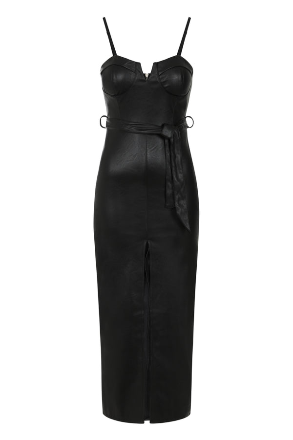 High Standards Black Leather Belted Split Maxi Dress